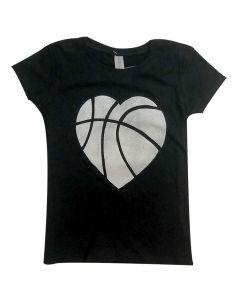 Girl's Basketball Heart T-Shirt